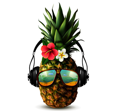 Pineapple Listening to Music